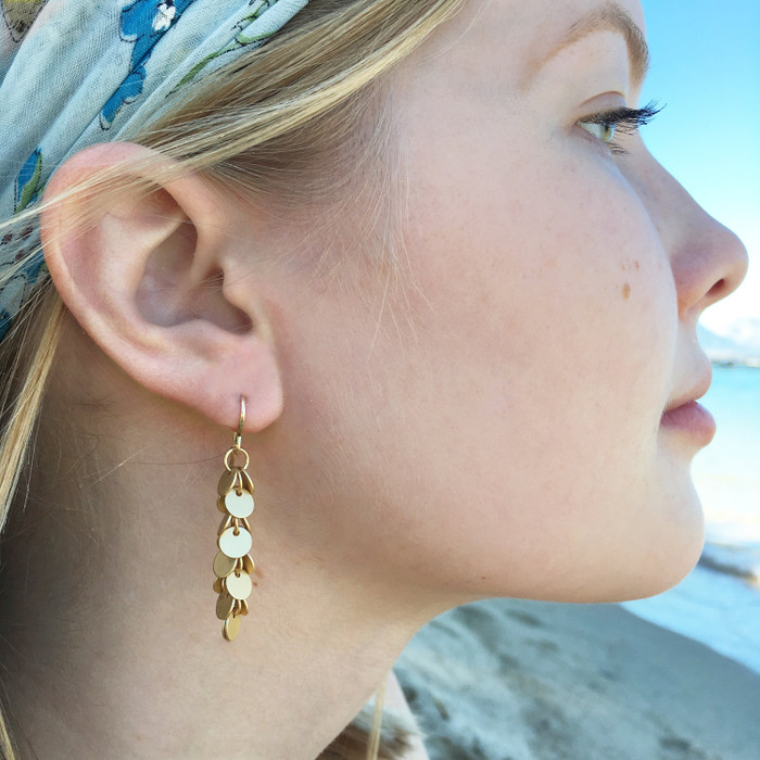 Long Brushed Gold Disk Earrings