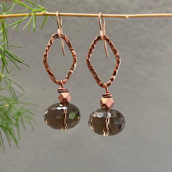Smokey Quartz & Copper Earrings