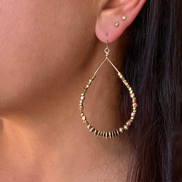 Brass & Copper Beaded Hoop Earrings