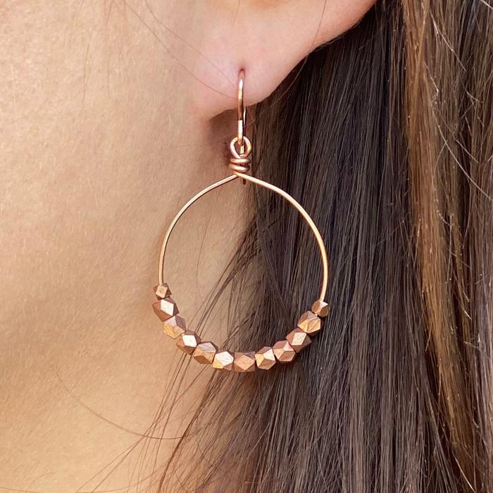 Rose Gold Hoops Earrings w/ Copper Beads, Size Medium