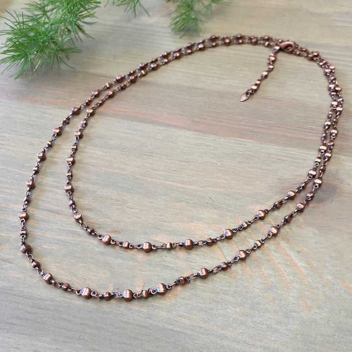 Copper Bead Chain Necklace & Bracelet