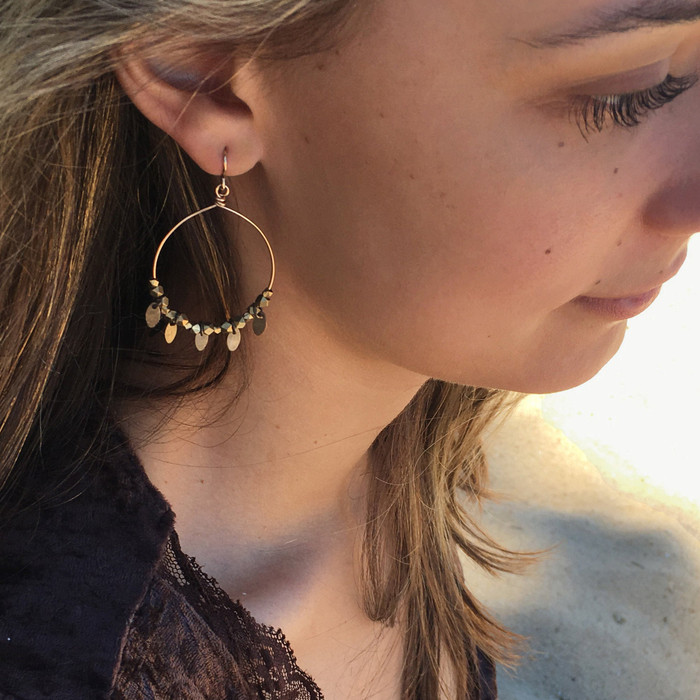 14k Gold Filled & Brass Leaf Hoop Earrings
