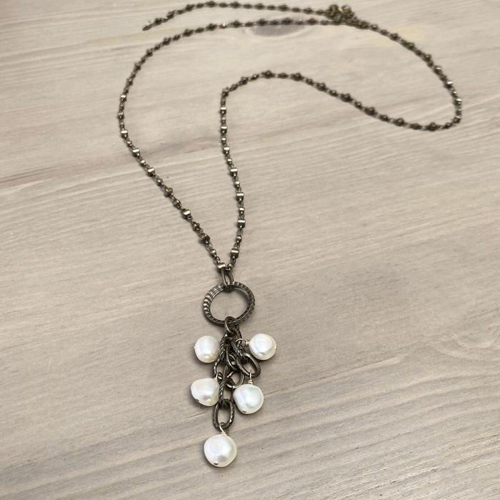 White Pearls on Brass Chain