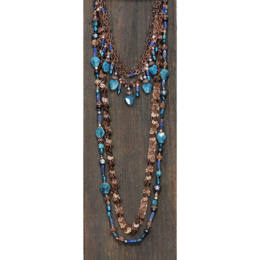 Copper w/ Blues Necklace & Bracelet