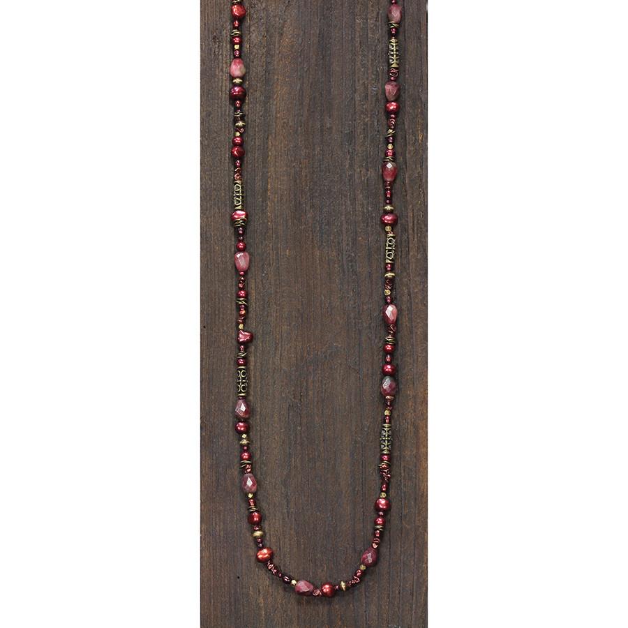 Brass w/ Reds Necklace & Bracelet