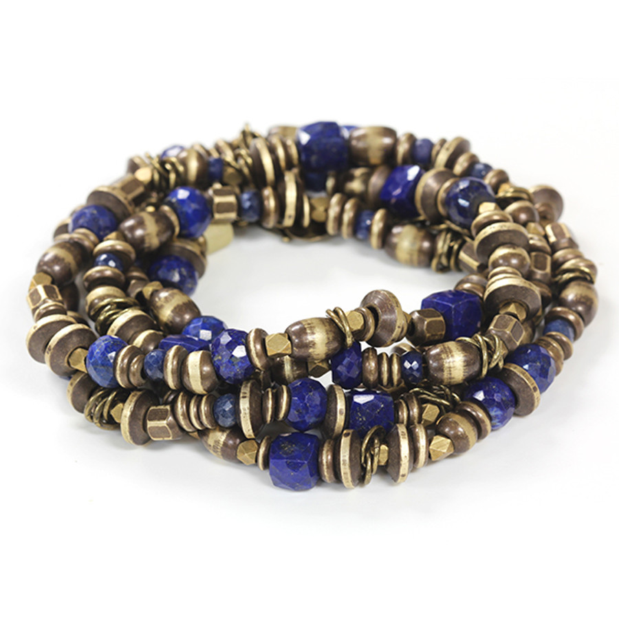 Brass & Lapis Bracelet/Necklace