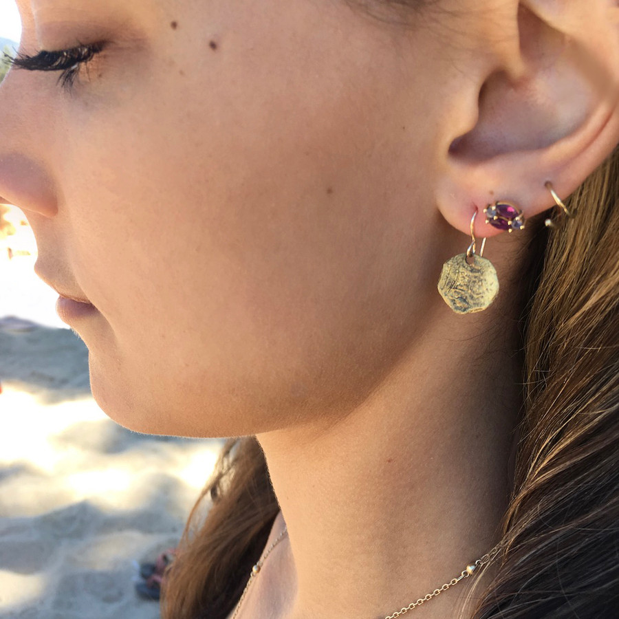 Anitqued Brass Coin Earring