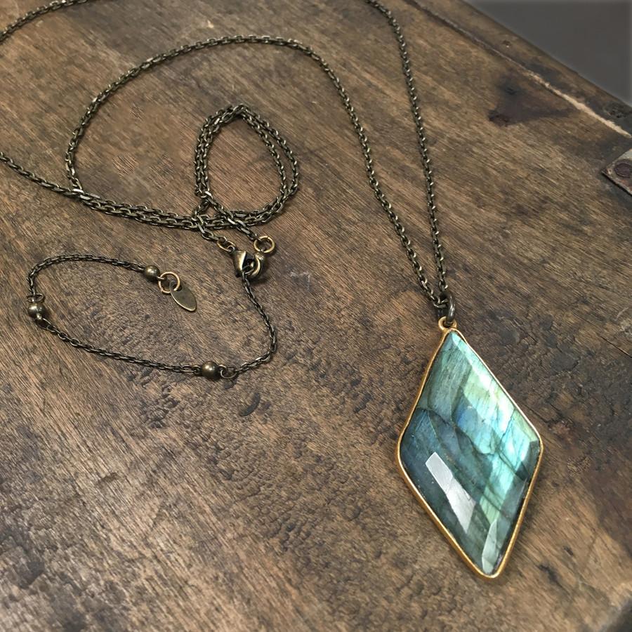 Diamond Labradorite Necklace