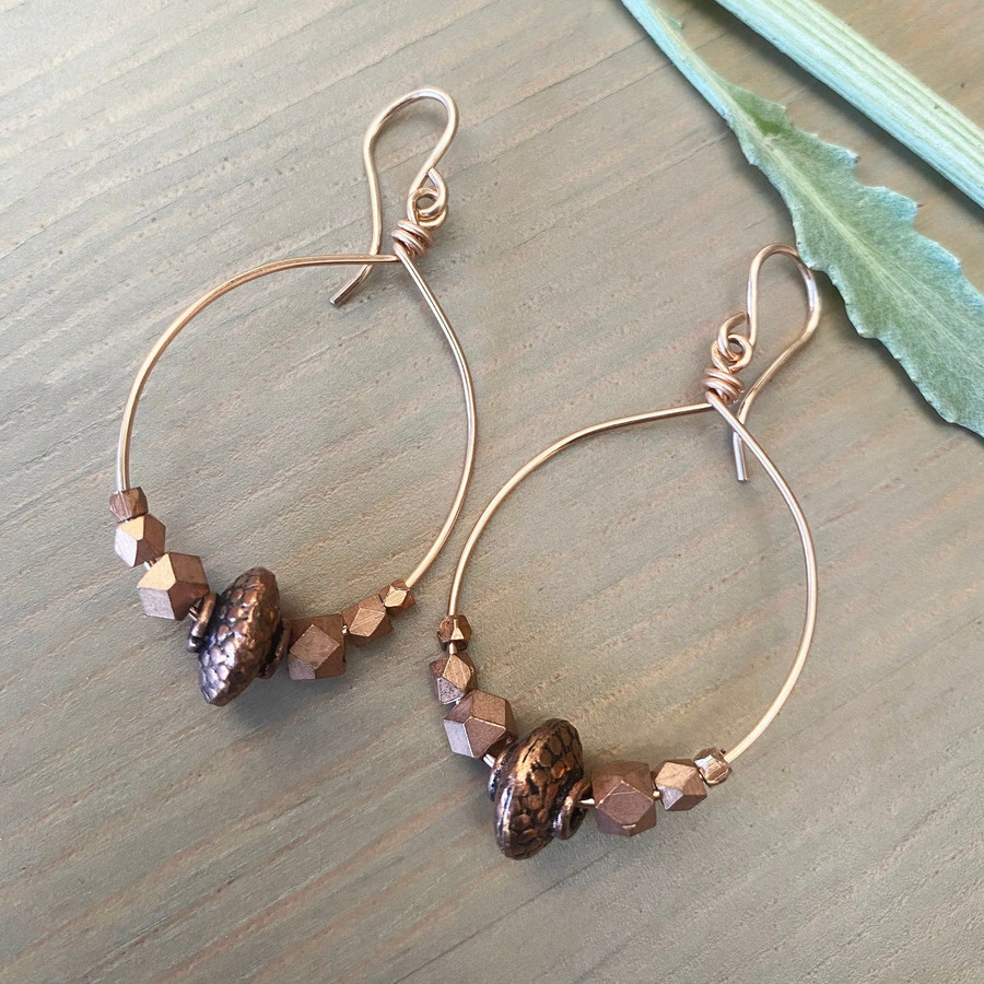 Rose Gold Hoops W/ Copper
