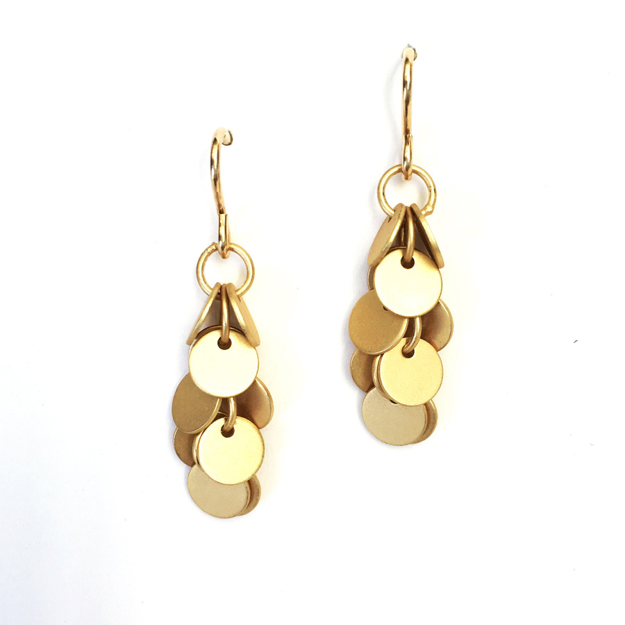 Brushed Gold Disk Earrings
