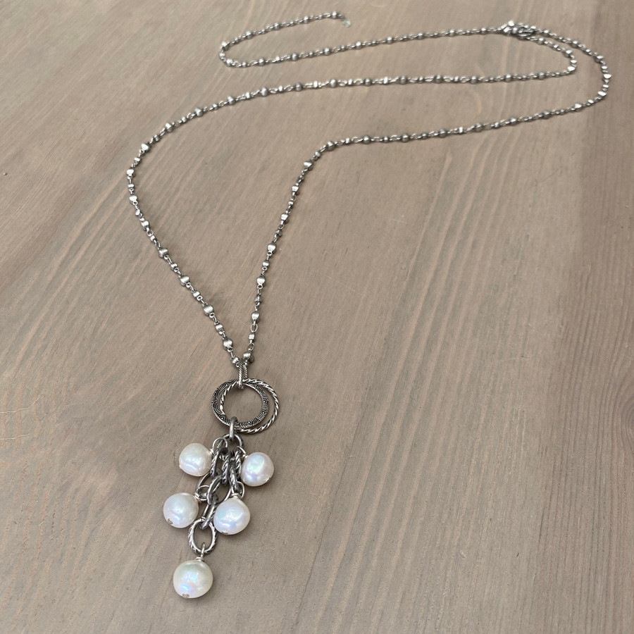 White Pearl Cluster on Adjustable Chain