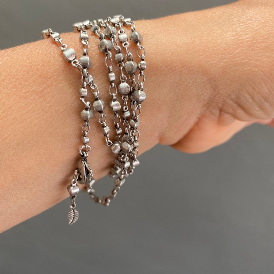 Blue Gray Pearls on Silver