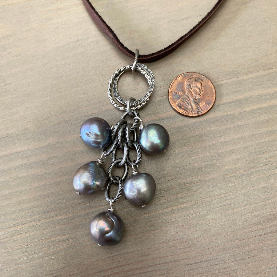 Blue Gray Pearls on Leather