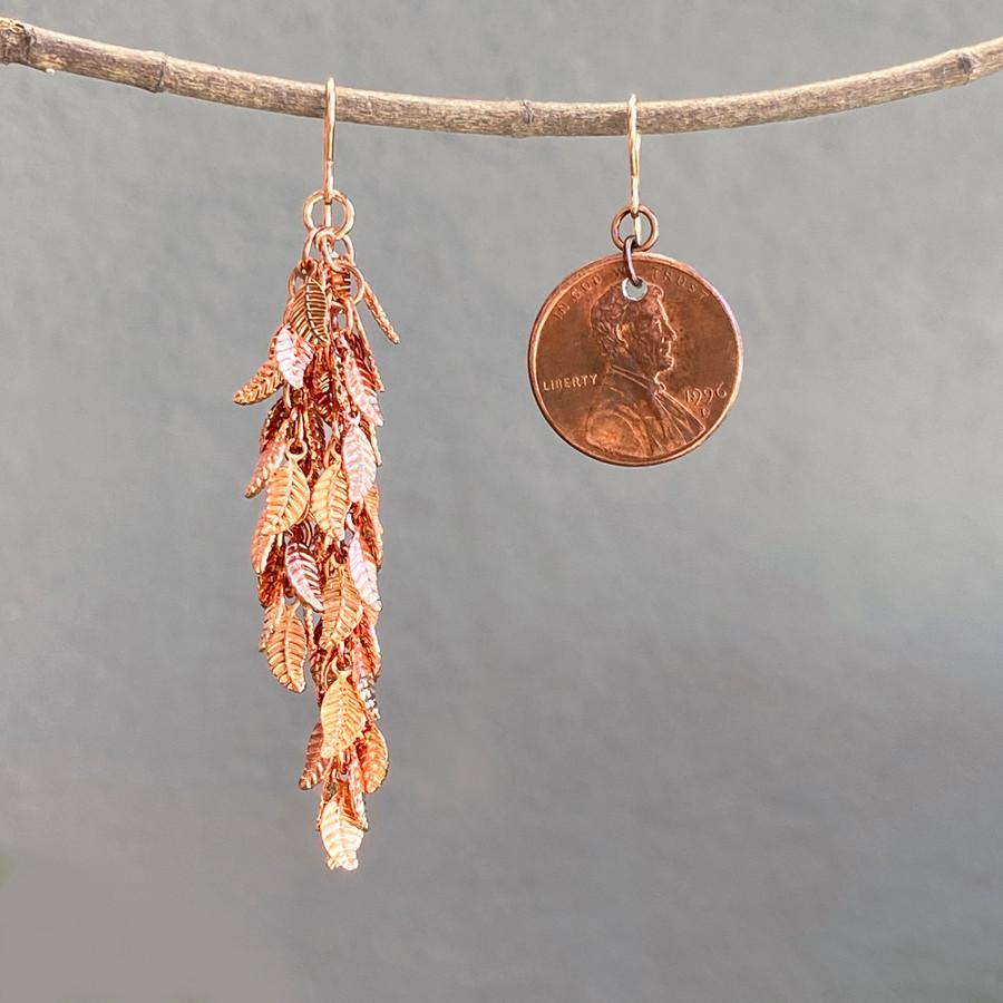 Shiny Rose Copper Leaf Earrings - Long