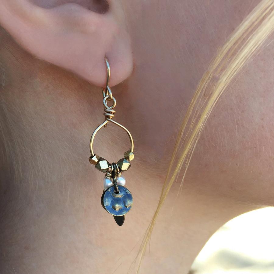 Gold & Brass Hoops w/ Pearls