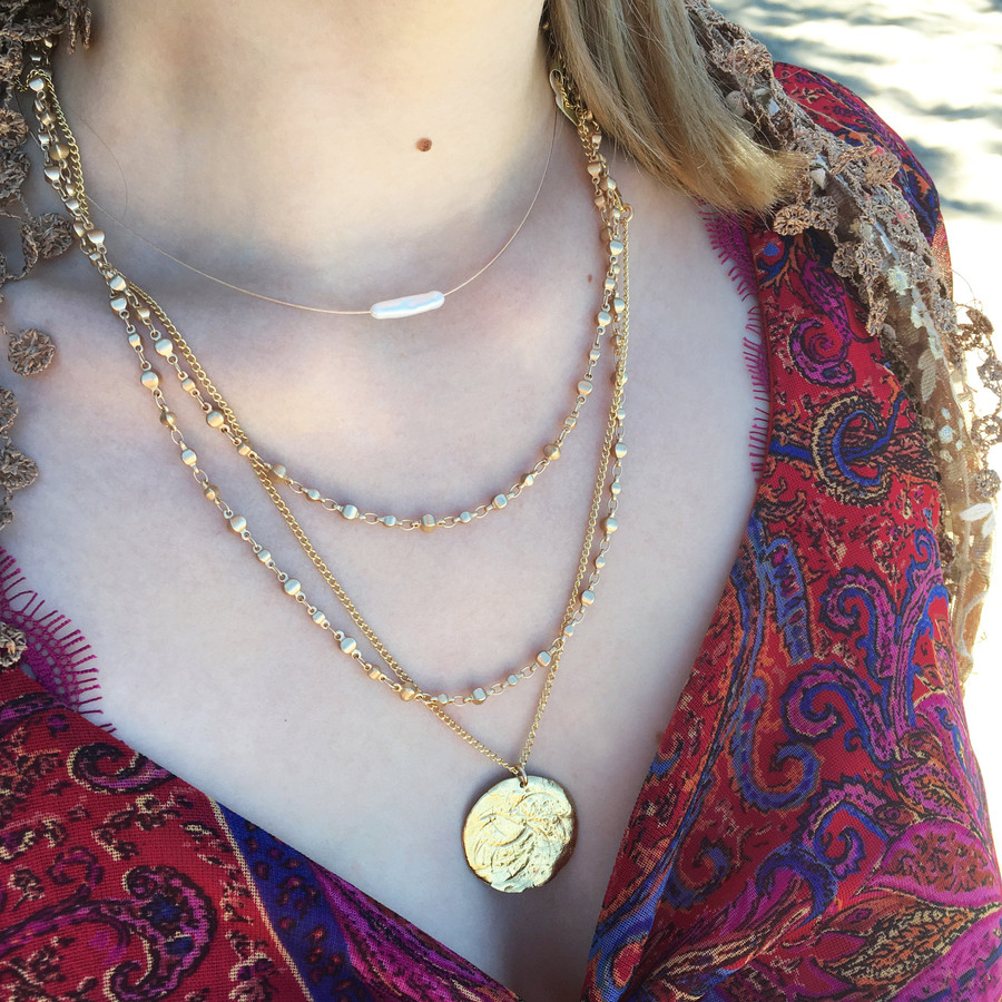 Brushed Gold Wrap Bracelet & Necklace