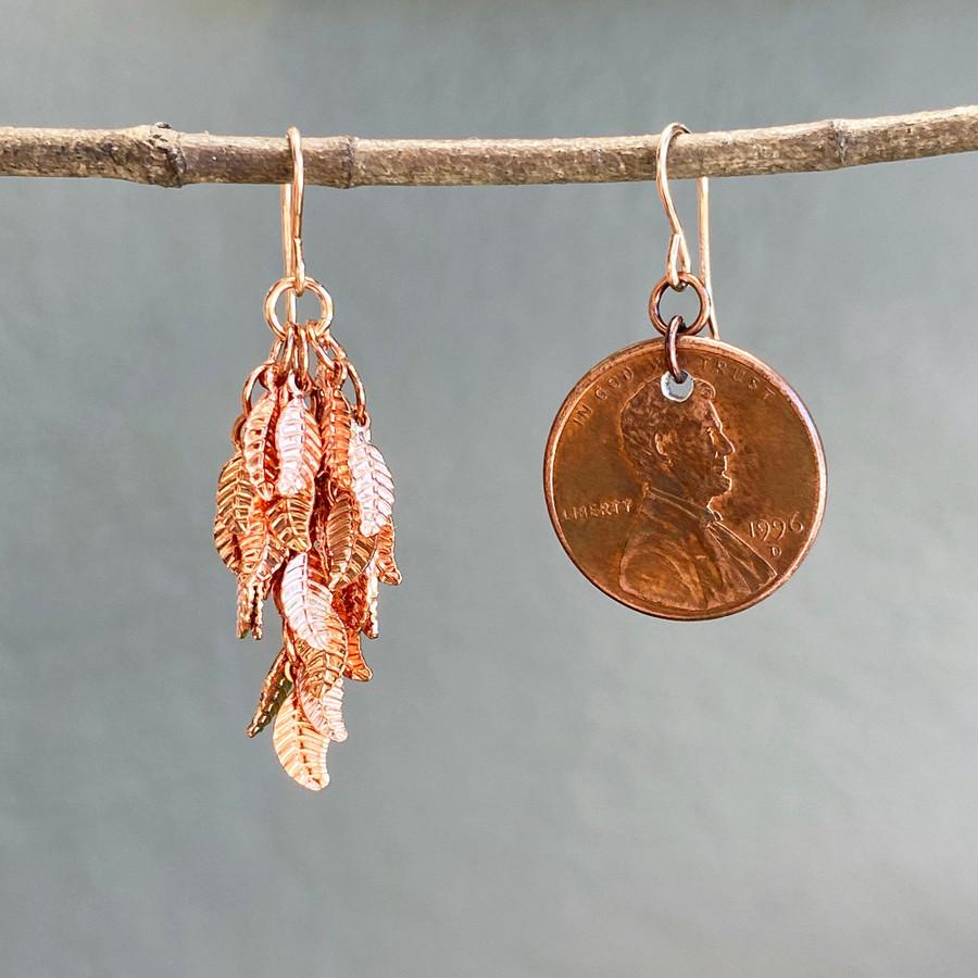 Shiny Copper Leaf Earrings, Medium