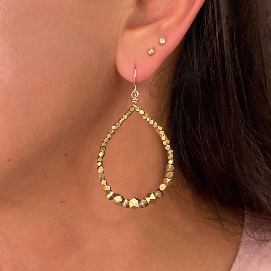 Large Brass & Gold Tear Drop Beaded Earrings