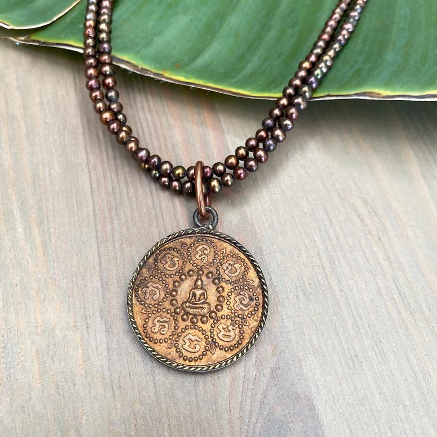 Copper Buddha on Pearls