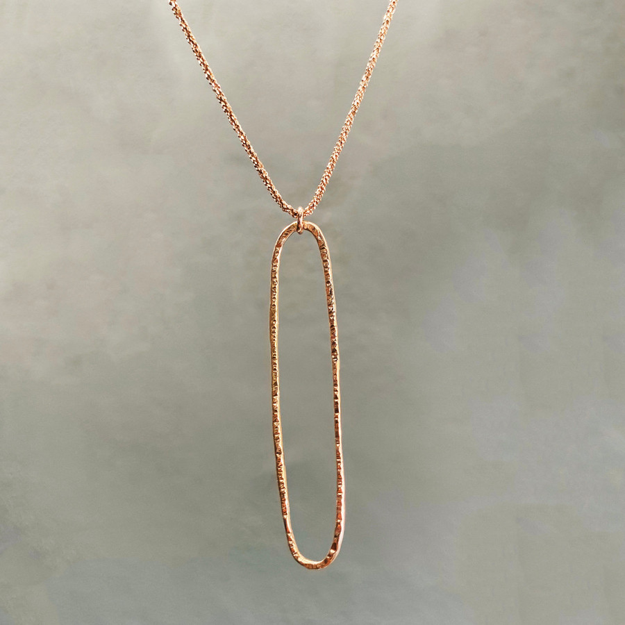 Rose Gold Hammered Necklace
