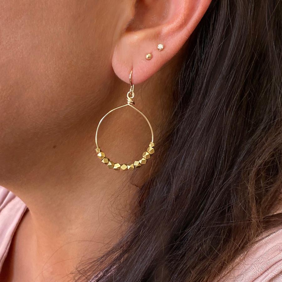 Gold Hoops W/ Brass Beads, Medium