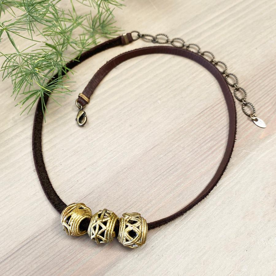 Brass Ethiopian Beads on Leather