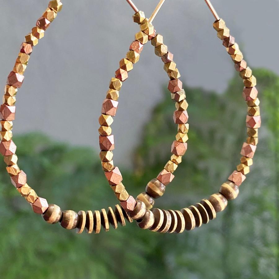 Brass & Copper Beaded Hoop Earrings