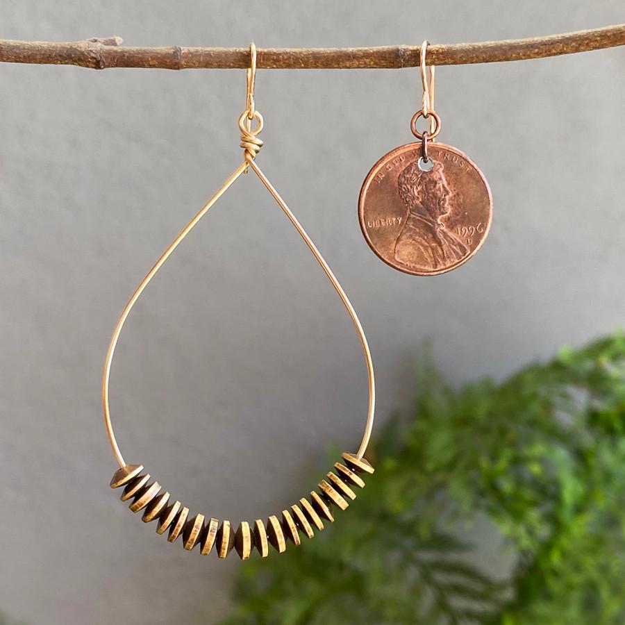 Large Gold &  Brass Teardrop Hoop Earrings