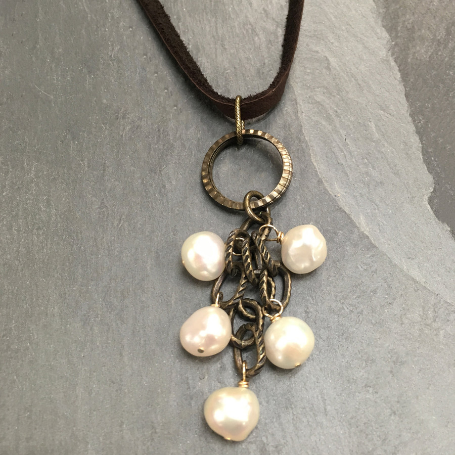 White Pearls Clustered on Brass Pendant w/ Leather