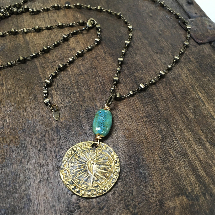 Brass Coin w/ Turquoise Adjustable Necklace