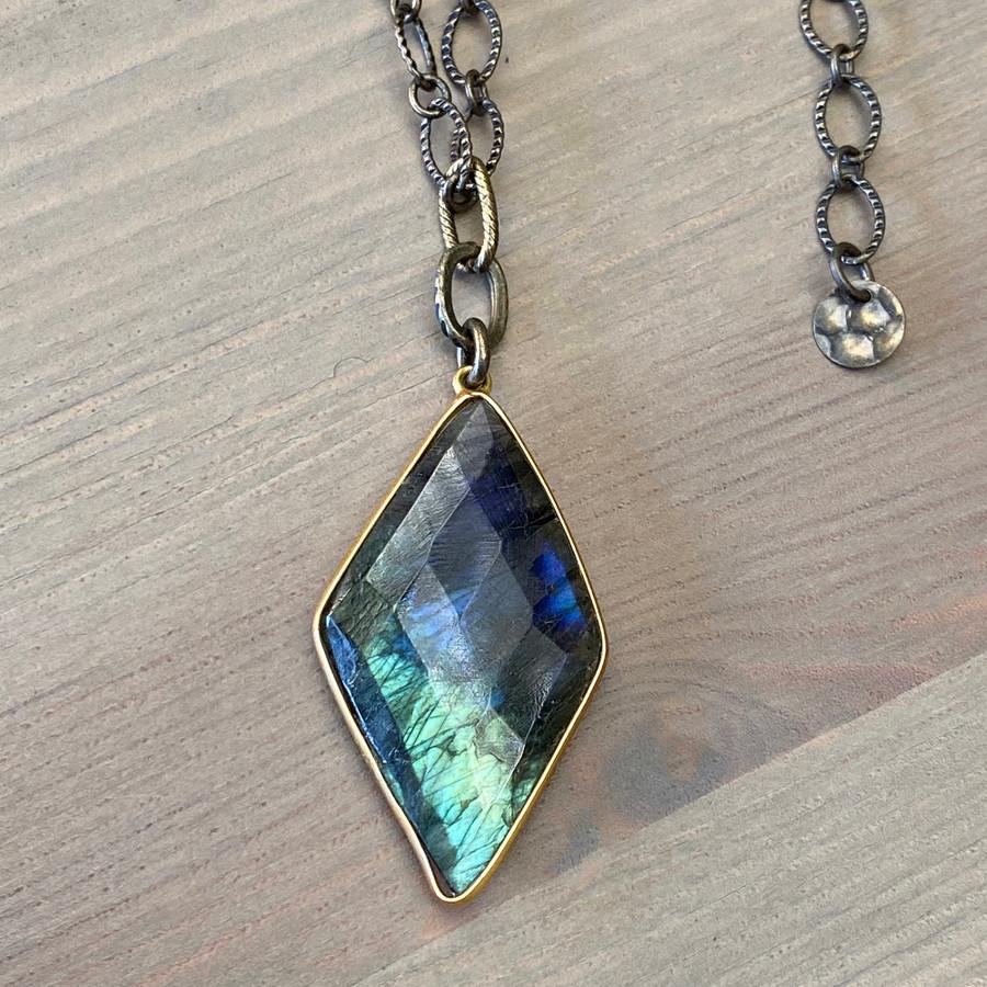 Diamond Labradorite & Brass Necklace