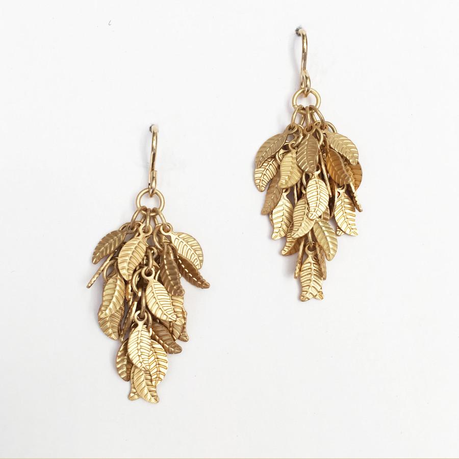 Brushed Gold Leaf Earrings, Medium