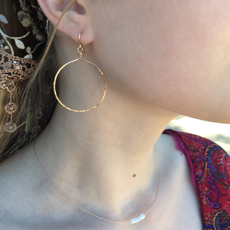 """Showing Yellow Gold, size Large, hanging approx. 2.25"""""""