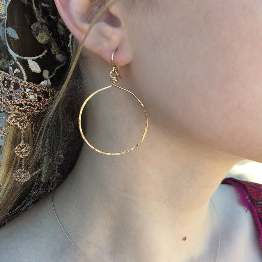 """Showing yellow gold, size Large, dropping approx. 2.25"""""""