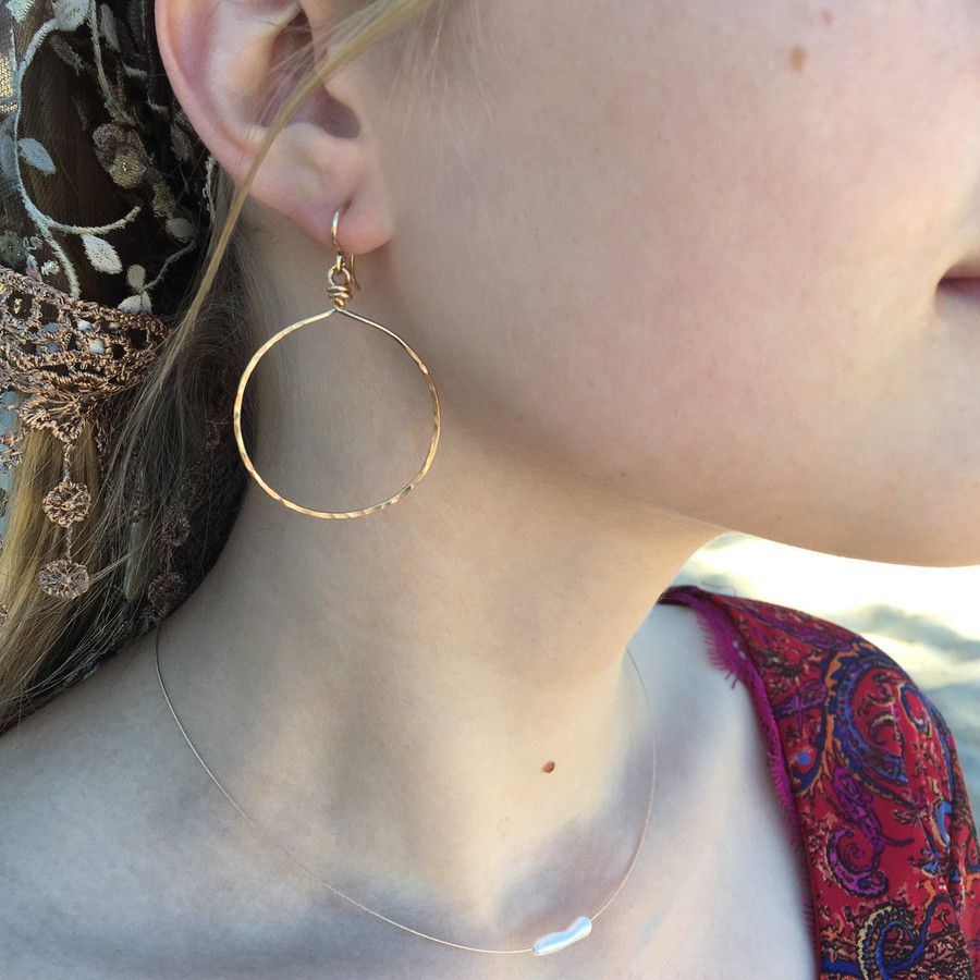 """Showing in yellow gold, size large, dropping approx. 2.25"""""""