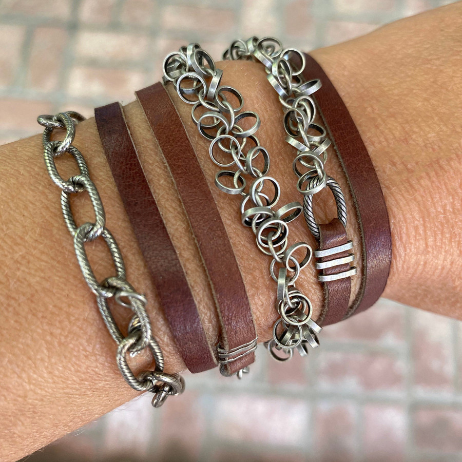 Silver Circles with Leather Necklace/Bracelet