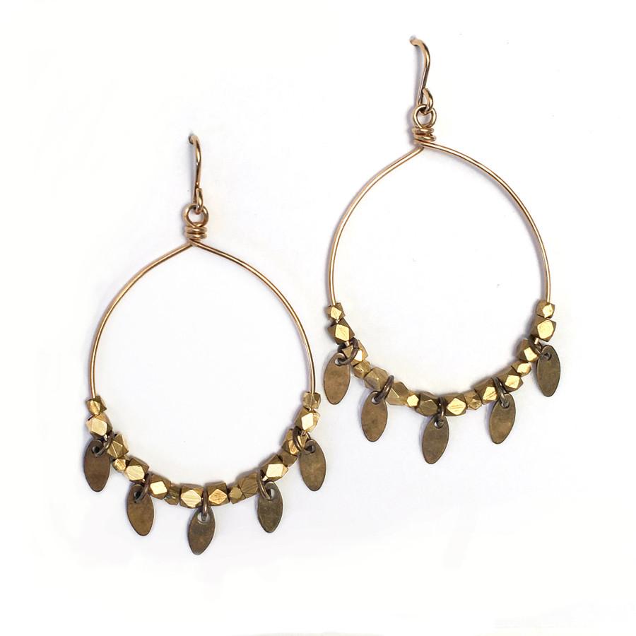 14k Gold Filled & Brass Leaf Hoop Earrings