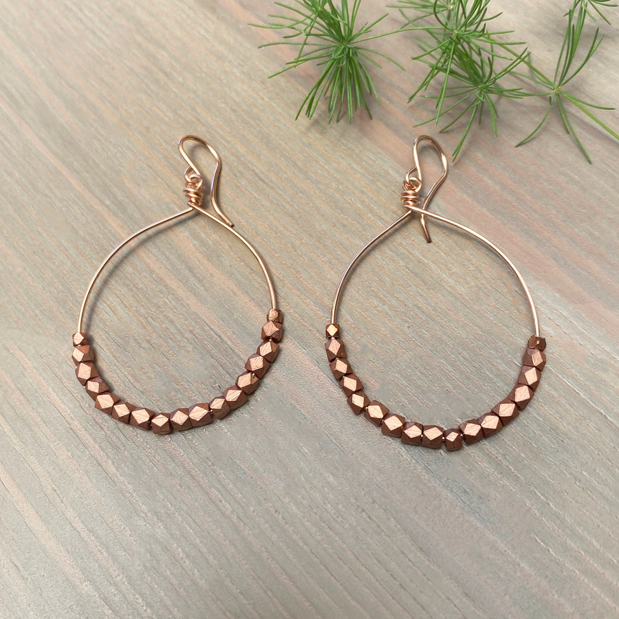 Rose Gold & Copper Bead Hoop Earrings, Size Large