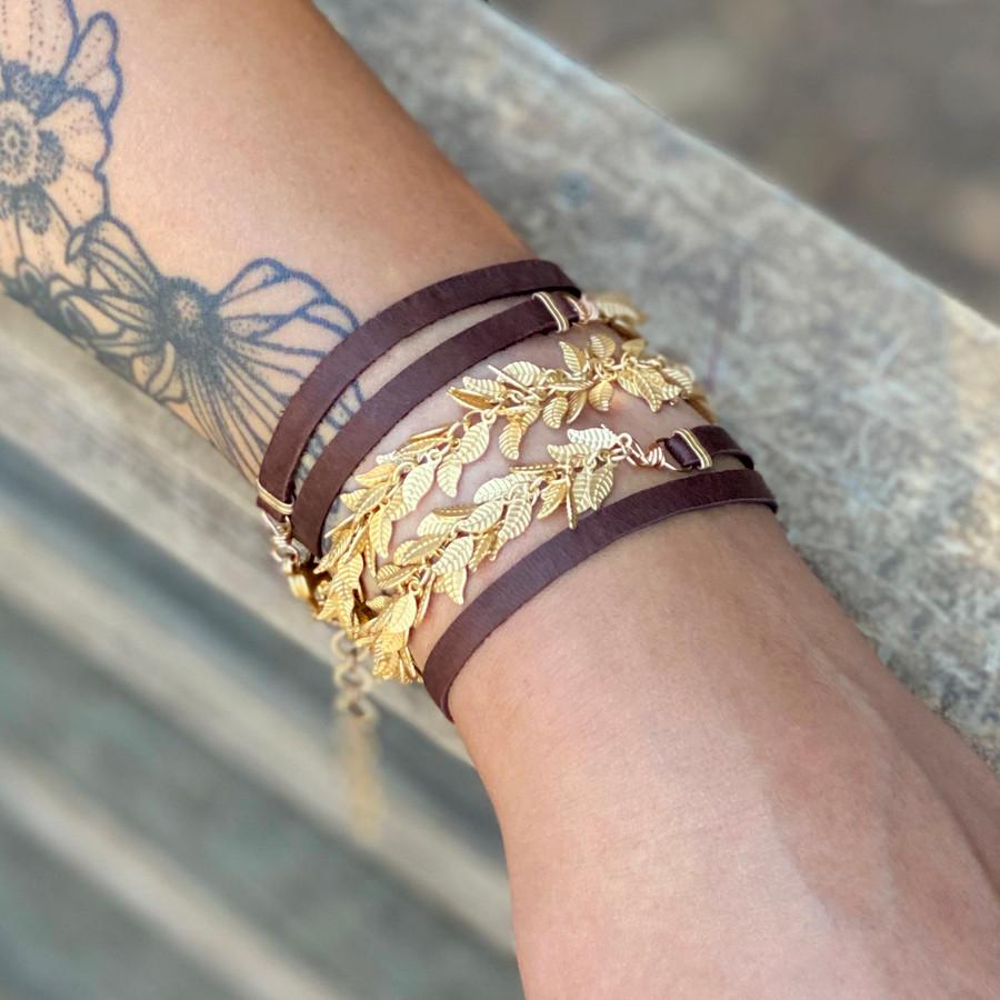 Gold Leaves & Leather Bracelet/Necklace