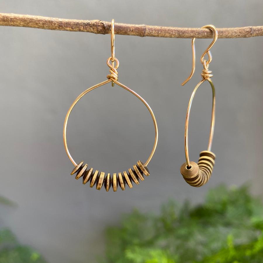 Gold & Brass Hoop Earrings - Med