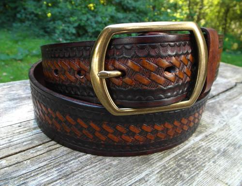 Tooled Basket Weave Belt