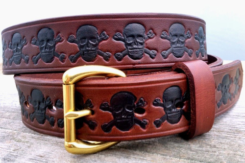Leather Belt with Skulls