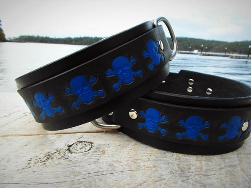 Dog Collar Royal Blue Skulls