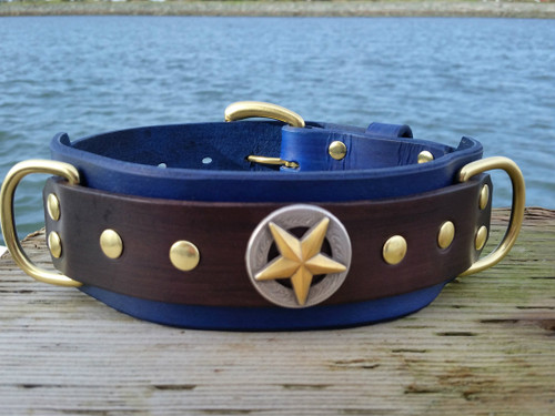 Big Star leather dog collar in Royal Blue