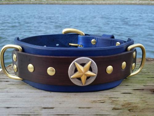 Big Star leather dog collar in Royal Blue
