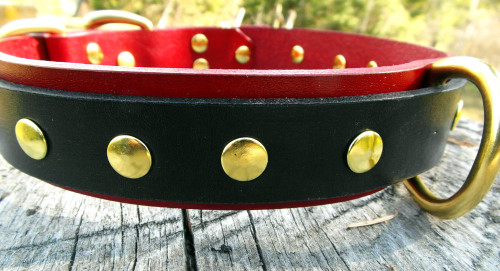 Leather Dog Collar Red - Black