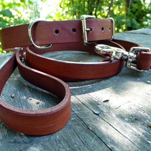 Luxe Brown Collar and Leash Set