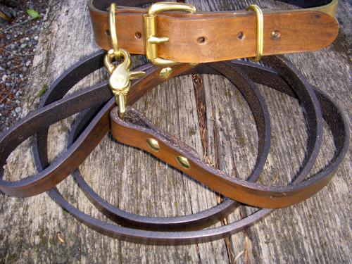 Classic Brown Collar Leash Set