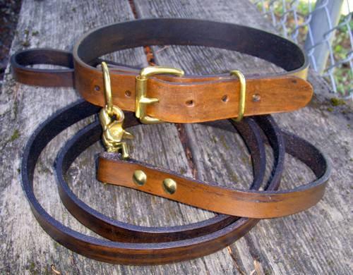 Classic Brown Collar Leash Set