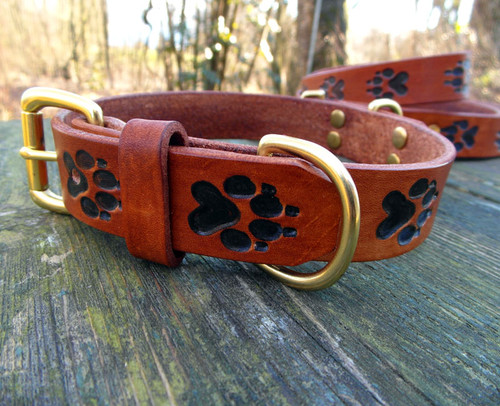 Leather Collar with Engraved Wolf Tracks - 1 inch wide
